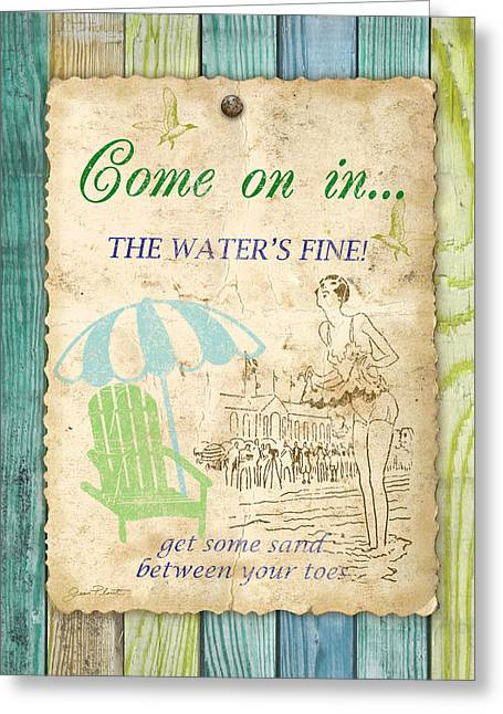 Lawn Chair Greeting Cards - Beach Notes-B Greeting Card by Jean Plout