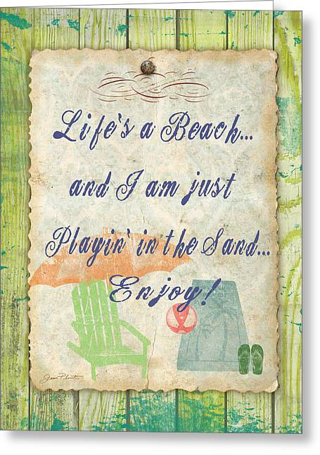 Lawn Chair Greeting Cards - Beach Notes-E Greeting Card by Jean Plout