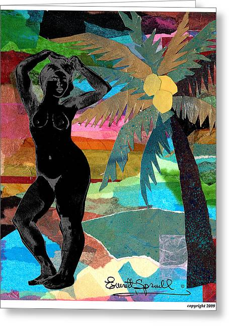 Coltrane Mixed Media Greeting Cards - Beach Nude 1 Greeting Card by Everett Spruill
