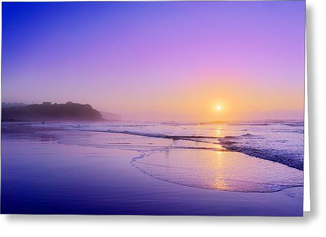Foggy Beach Greeting Cards - beach of Sopelana at sunset Greeting Card by Mikel Martinez de Osaba
