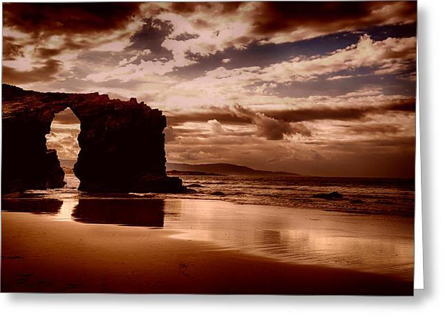 Surf Silhouette Greeting Cards - Beach of the Cathedrals Sunset Greeting Card by Mountain Dreams