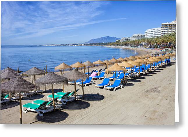 Lounger Greeting Cards - Beach on Costa del Sol in Marbella Greeting Card by Artur Bogacki