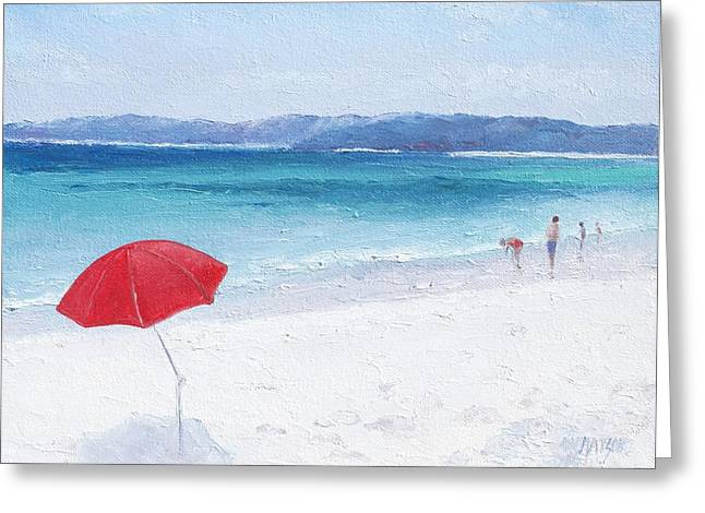 Beach Scenes Greeting Cards - Beach Paddling Greeting Card by Jan Matson