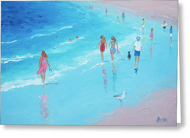 Beach Decor Posters Greeting Cards - Beach Painting - A Beach Stroll  Greeting Card by Jan Matson