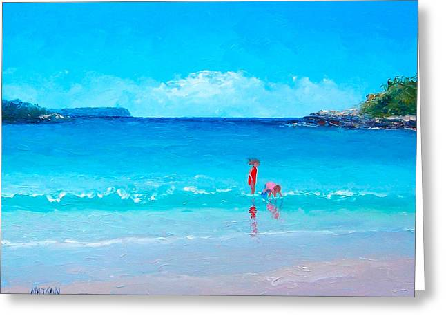 Summer Scene Greeting Cards - Beach painting - A Sea Breeze Greeting Card by Jan Matson