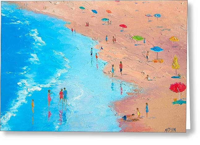 Beach Prints Greeting Cards - Beach Painting - A Sweltering Day Greeting Card by Jan Matson