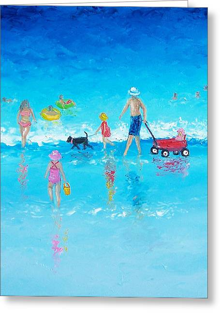 People On Beach Greeting Cards - Beach Painting Beach Holiday  Greeting Card by Jan Matson