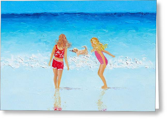 Dog Beach Print Greeting Cards - Beach painting Beach Play Greeting Card by Jan Matson