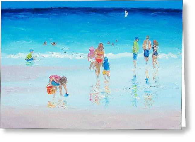 People On Beach Greeting Cards - Beach Painting - Beach Reflections Greeting Card by Jan Matson