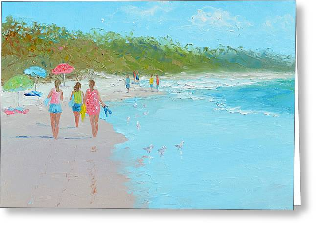 Seagull On Beach Greeting Cards - Beach Painting Beach Strolling by Jan Matson Greeting Card by Jan Matson