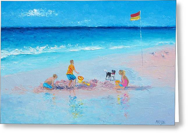 Dog Beach Print Greeting Cards - Beach Painting Building Sandcastles by Jan Matson Greeting Card by Jan Matson