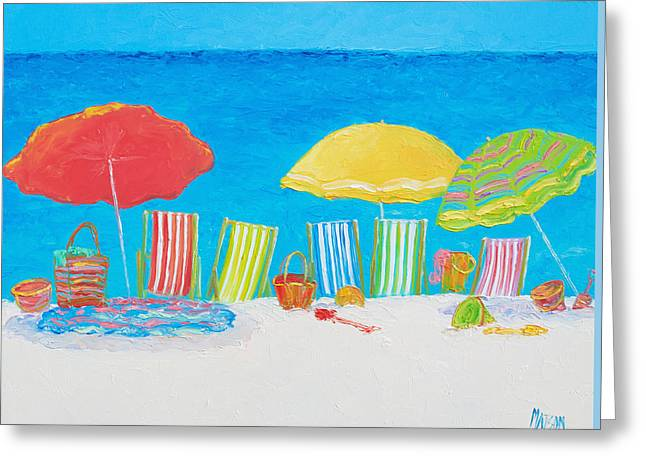 Summer Scene Greeting Cards - On the Beach Greeting Card by Jan Matson