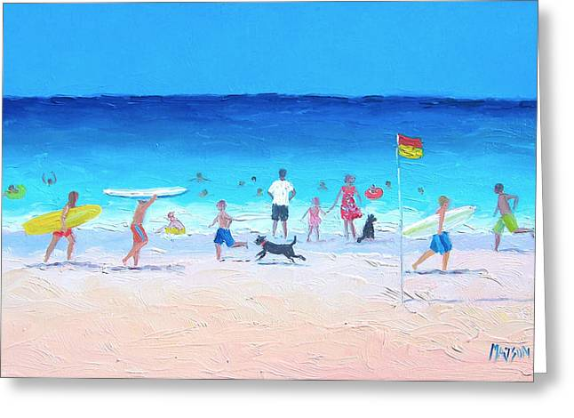 Dog Beach Print Greeting Cards - Down at the Beach Greeting Card by Jan Matson
