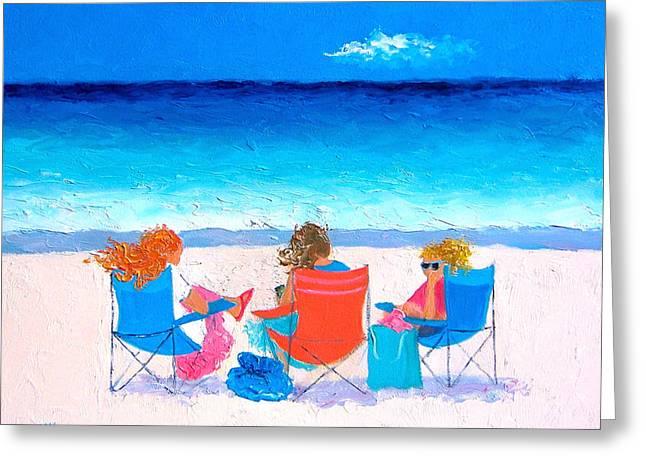 Teenage Girls Greeting Cards - Beach Painting - Girl Friends - by Jan Matson Greeting Card by Jan Matson