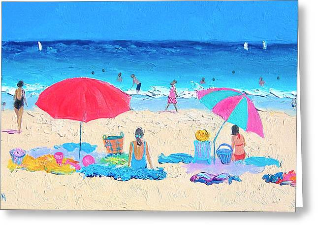 Beach Cottage Style Greeting Cards - Beach painting - Hot Summer Days Greeting Card by Jan Matson