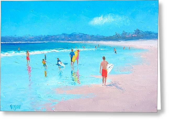 Surfing Art Greeting Cards - Beach painting Last Days of Summer Greeting Card by Jan Matson