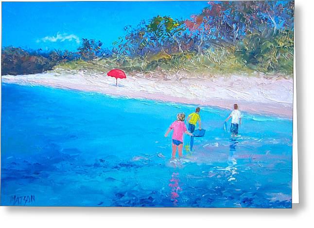 Cabin Interior Greeting Cards - Beach Painting Perfect Days Greeting Card by Jan Matson