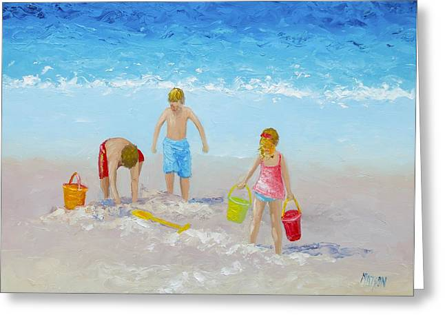 Beach House Decor Greeting Cards - Beach painting - Sandcastles Greeting Card by Jan Matson