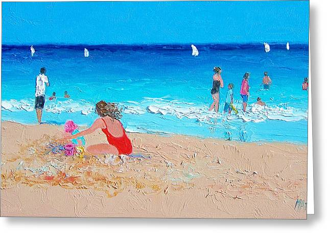 People On Beach Greeting Cards - Beach Painting Summer Holiday  Greeting Card by Jan Matson