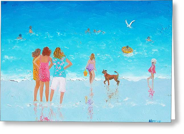 People On Beach Greeting Cards - Beach Painting Summer is Here by Jan Matson Greeting Card by Jan Matson