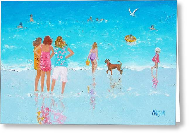 Beach Scene Greeting Cards - Beach Painting Summer is Here by Jan Matson Greeting Card by Jan Matson