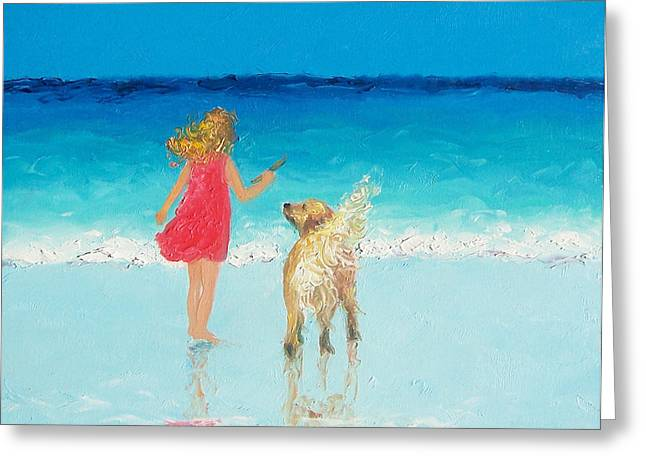 Dog Beach Print Greeting Cards - Beach Painting Sunkissed Hair  Greeting Card by Jan Matson