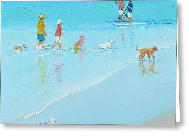Seagull On Beach Greeting Cards - Beach Painting The dog Beach by Jan Matson Greeting Card by Jan Matson