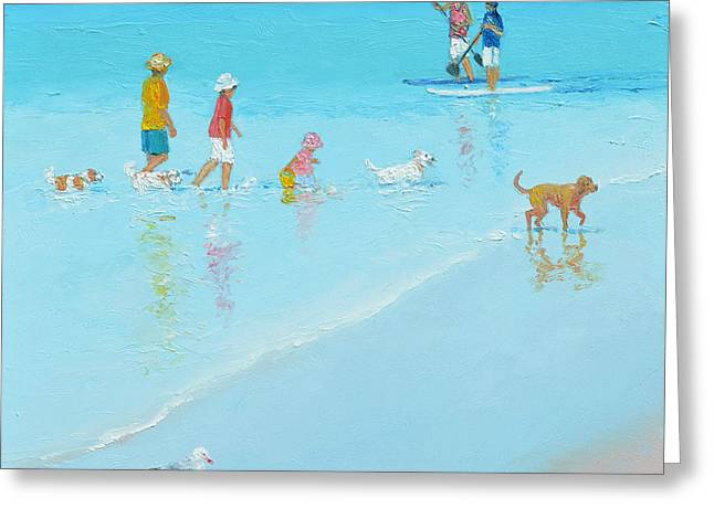 Dog Beach Print Greeting Cards - Beach Painting The dog Beach by Jan Matson Greeting Card by Jan Matson