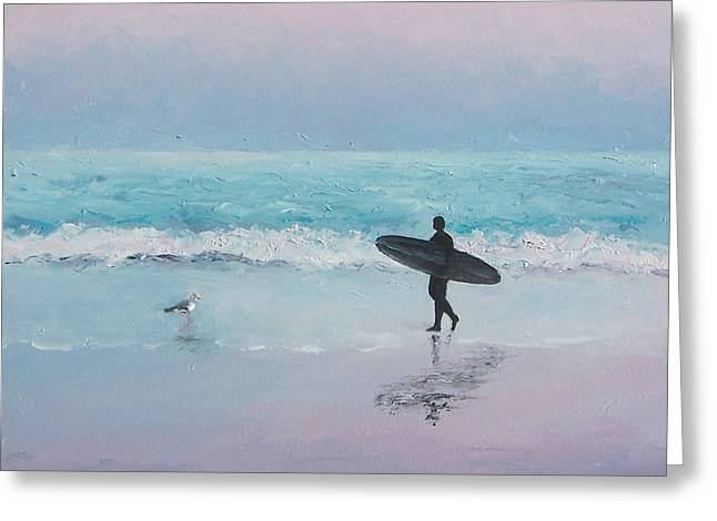 Surfer Art Greeting Cards - The Lone Surfer 2 Greeting Card by Jan Matson