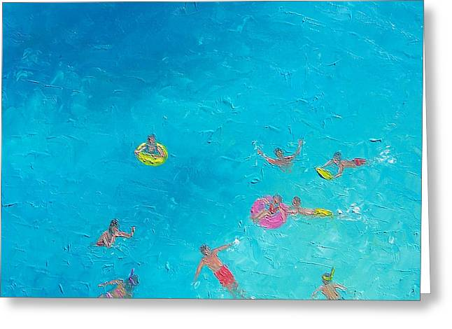Ocean Art. Beach Decor Greeting Cards - Beach Painting The Swimmers  by Jan Matson Greeting Card by Jan Matson