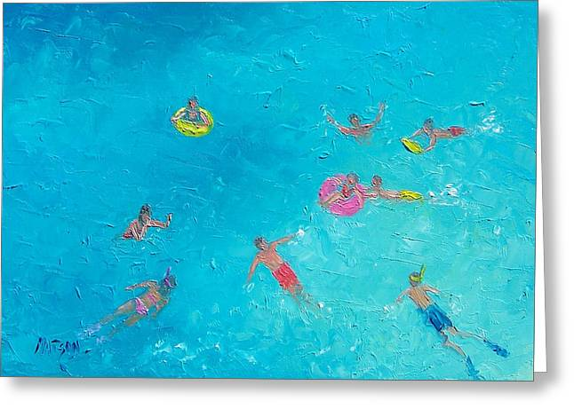 Bathroom Prints Greeting Cards - Beach Painting The Swimmers  by Jan Matson Greeting Card by Jan Matson