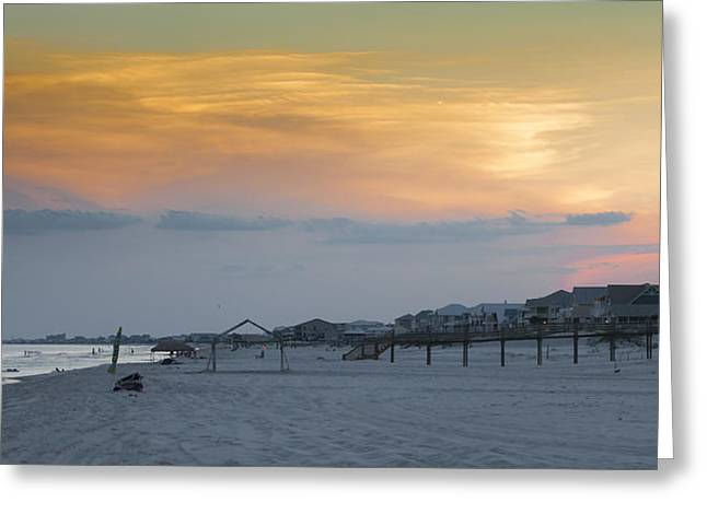 Beach Sunsets Pyrography Greeting Cards - Beach Panorama  Greeting Card by Wayne Anders
