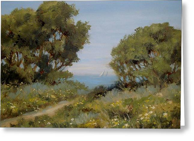 Ocean Landscape Drawings Greeting Cards - Beach Path #2 Greeting Card by Tina Obrien