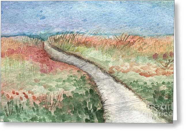 Beach Cottage Greeting Cards - Beach Path Greeting Card by Linda Woods