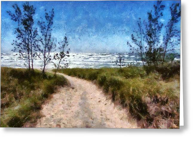 Seaside Digital Art Greeting Cards - Beach Path Greeting Card by Michelle Calkins