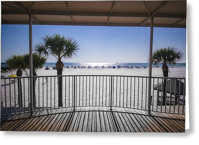 Beach Patio Greeting Card by Carolyn Marshall
