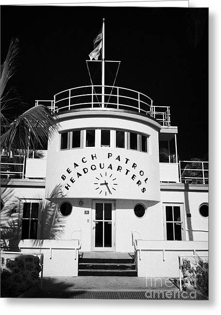 Historic Florida Greeting Cards - Beach Patrol Headquarters In Art Deco District Of Miami South Beach Florida Usa Greeting Card by Joe Fox
