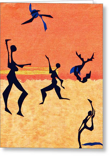 Playful Tapestries - Textiles Greeting Cards - Beach Players Greeting Card by Ruth Yvonne Ash