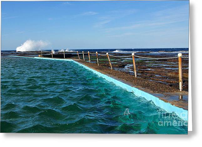 Walkway To The Beach Greeting Cards - Beach Pool and out to the Ocean Greeting Card by Kaye Menner