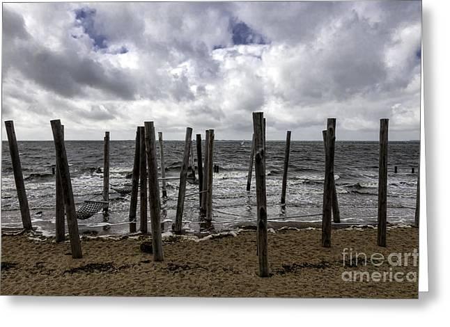 Braking Greeting Cards - Beach Promenade near Esbjerg Denmark Greeting Card by Frank Bach