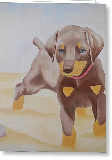 Doberman Pinscher Puppy Greeting Cards - Beach Puppy Greeting Card by Megan Leppert