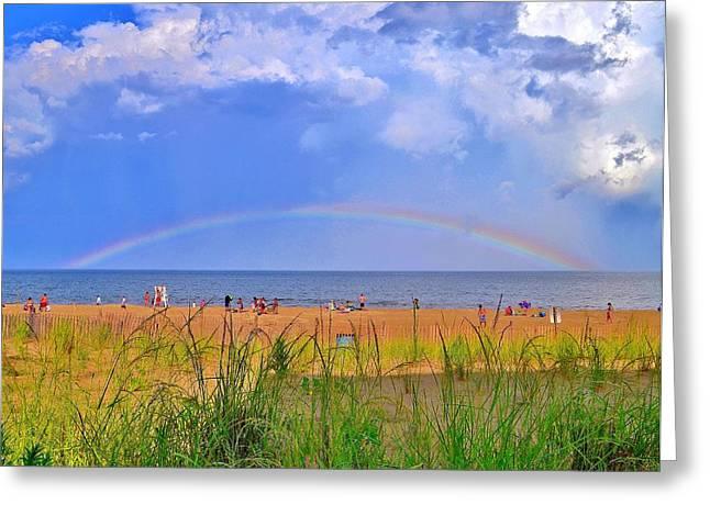Unique Art Greeting Cards - Beach Rainbow - Rehoboth Beach Delaware Greeting Card by Kim Bemis
