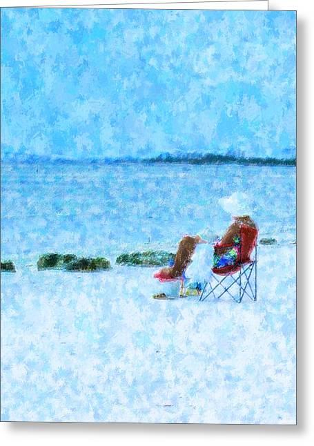Beach Towel Mixed Media Greeting Cards - Beach Read Greeting Card by Florene Welebny