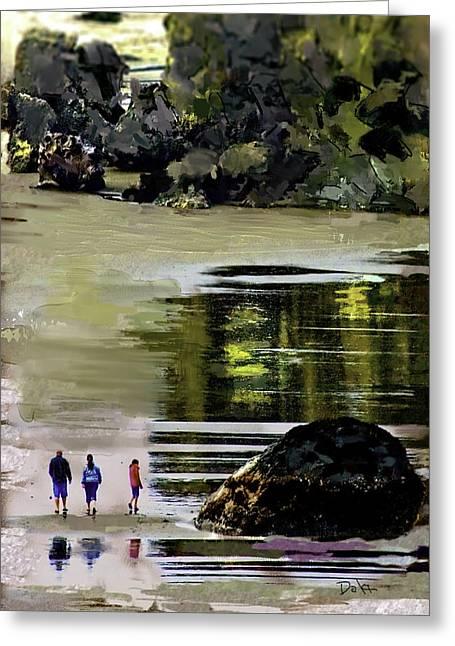 Ocean. Reflection Digital Art Greeting Cards - Beach Reflection Greeting Card by Dale Stillman