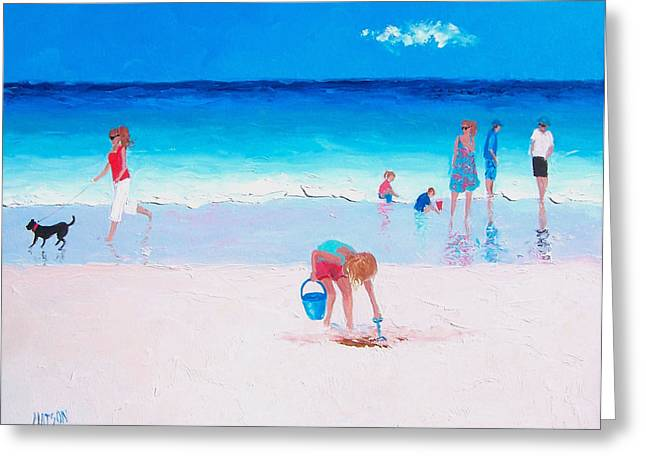 People On Beach Greeting Cards - Beach Reflections Greeting Card by Jan Matson