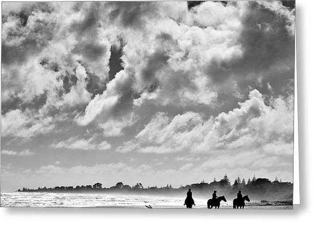 Horseback Photographs Greeting Cards - Beach Riders Greeting Card by Dave Bowman