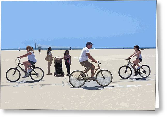 California Beach Art Digital Art Greeting Cards - Beach Riders Greeting Card by Nancy Merkle