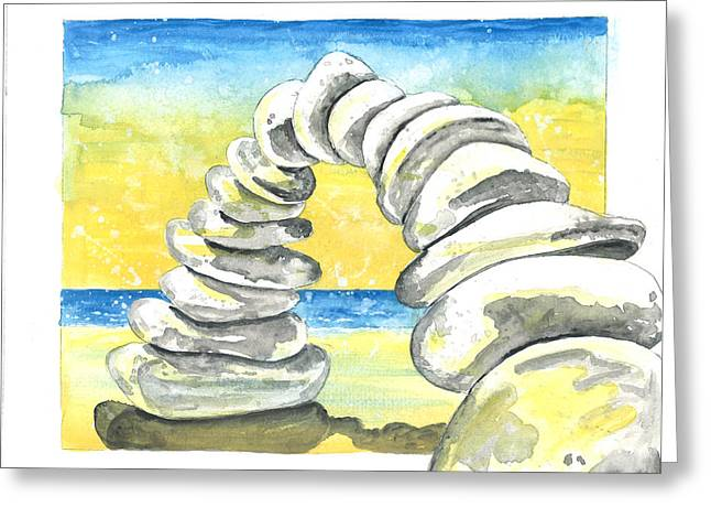 The Bean Greeting Cards - Beach Rock Arch Greeting Card by Pat Devereaux