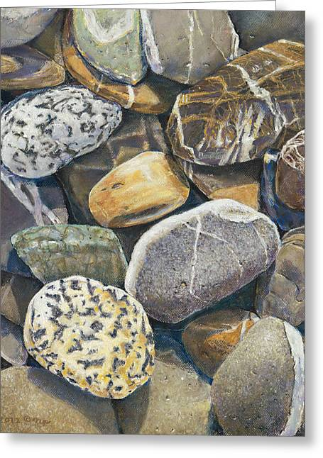 Wishes Pastels Greeting Cards - Beach Rocks 4 Greeting Card by Nick Payne