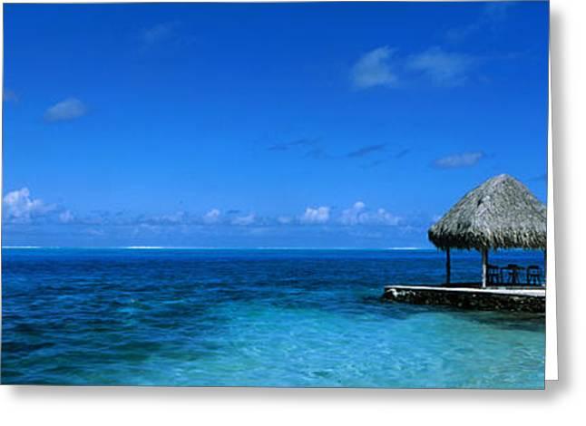 Cabanas Greeting Cards - Beach Scene Bora Bora Island Polynesia Greeting Card by Panoramic Images